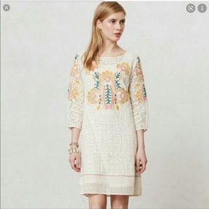 Anthropologie Vineet Bahl Embroidered Lace Dress